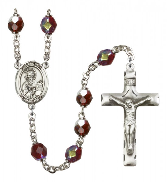 Men's St. Paul the Apostle Silver Plated Rosary - Garnet