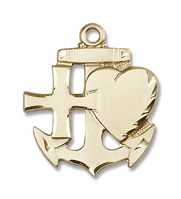 Faith Hope and Charity Medal - 14K Yellow Gold