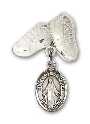 Baby Badge with Our Lady of Peace Charm and Baby Boots Pin - Silver tone