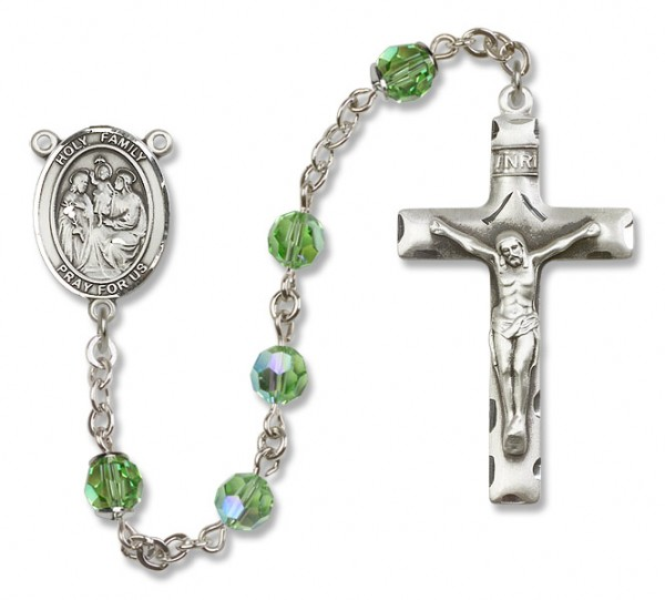 Holy Family Rosary Heirloom Squared Crucifix - Peridot