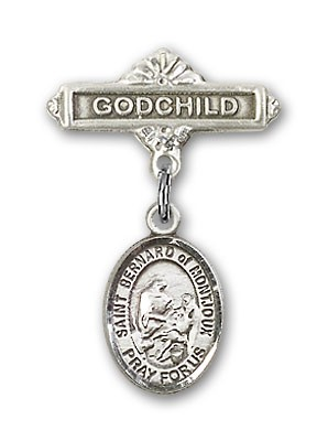 Pin Badge with St. Bernard of Montjoux Charm and Godchild Badge Pin - Silver tone