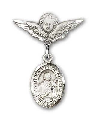 Pin Badge with St. Martin de Porres Charm and Angel with Smaller Wings Badge Pin - Silver tone