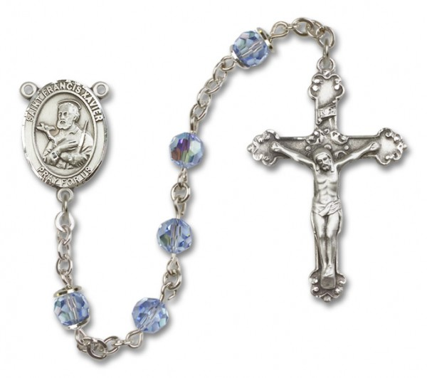 St. Francis Xavier Sterling Silver Heirloom Rosary Fancy Crucifix - Light Sapphire