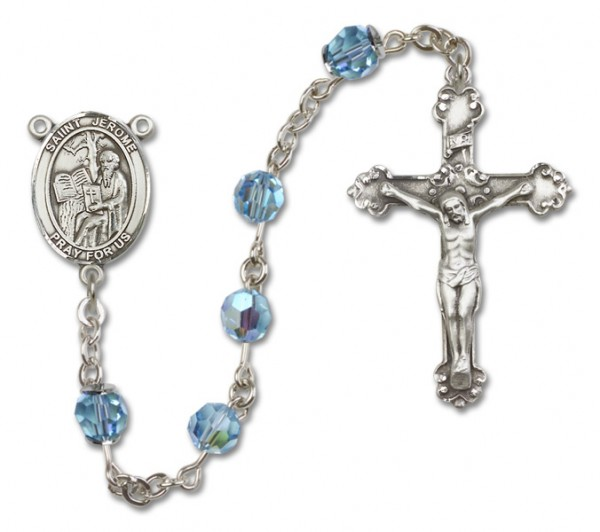 St. Jerome Sterling Silver Heirloom Rosary Fancy Crucifix - Aqua