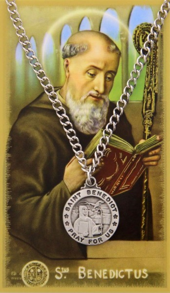 Round St. Benedict Medal with Prayer Card - Silver tone
