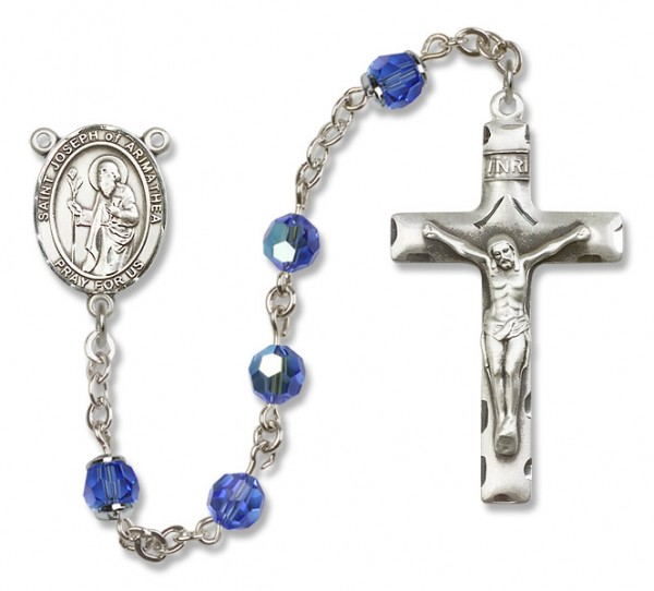 St. Joseph of Arimathea Sterling Silver Heirloom Rosary Squared Crucifix - Sapphire