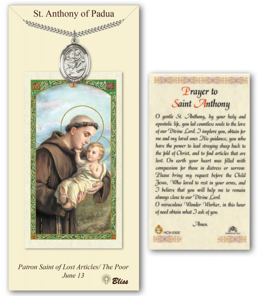 St. Anthony of Padua Medal in Pewter with Prayer Card - Silver tone