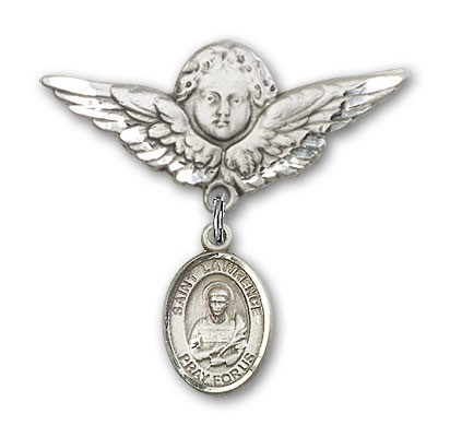 Pin Badge with St. Lawrence Charm and Angel with Larger Wings Badge Pin - Silver tone