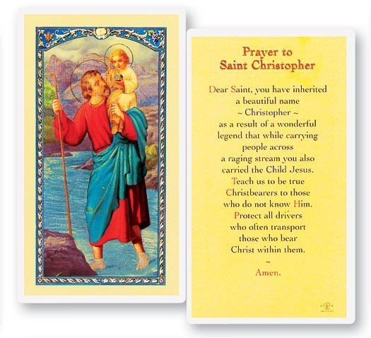 St. Christopher Laminated Prayer Cards 25 Pack - Full Color