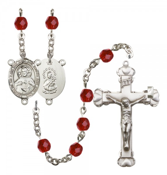 Women's Scapular Birthstone Rosary - Ruby Red