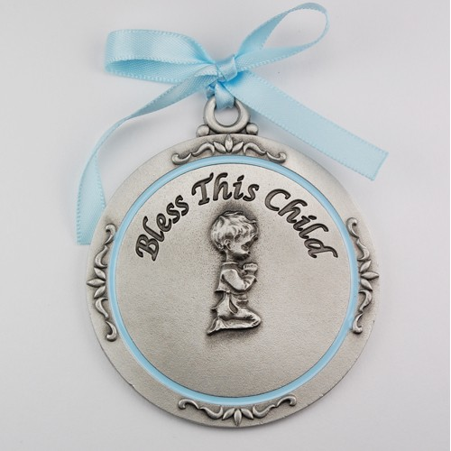 Silver Bless This Child Crib Medal - Boy - Silver | Blue