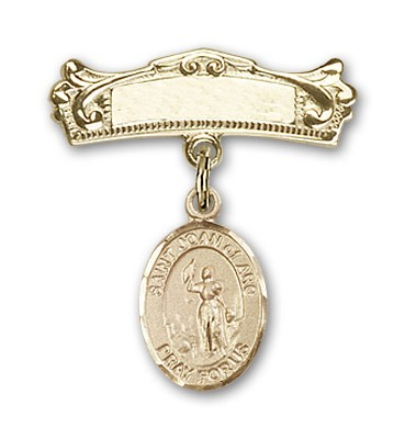 Pin Badge with St. Joan of Arc Charm and Arched Polished Engravable Badge Pin - 14K Solid Gold