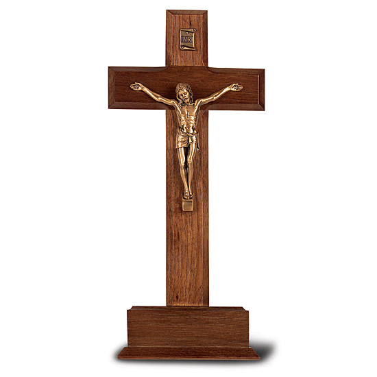 Standing Walnut Crucifix with Gold-tone Corpus and Base- 10 inch - Brown
