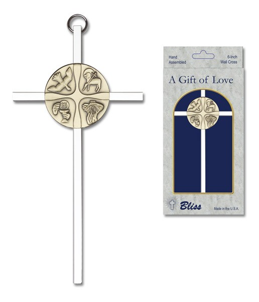 "Christian Life Wall Cross 6"" - Two-Tone Silver"