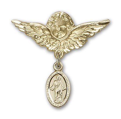 Pin Badge with Scapular Charm and Angel with Larger Wings Badge Pin - Gold Tone