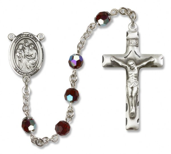 Holy Family Sterling Silver Heirloom Rosary Squared Crucifix - Garnet