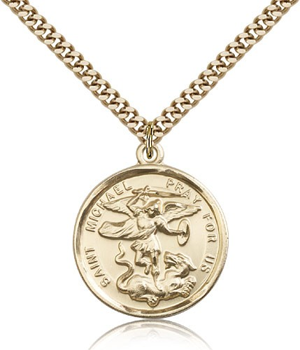 Double Sided St. Michael & Guardian Angel Medal - 14KT Gold Filled