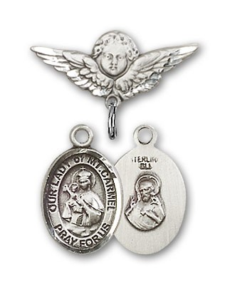Pin Badge with Our Lady of Mount Carmel Charm and Angel with Smaller Wings Badge Pin - Silver tone