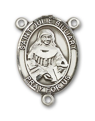 St. Julie Billiart Rosary Centerpiece Sterling Silver or Pewter - Sterling Silver