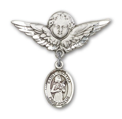 Pin Badge with St. Agatha Charm and Angel with Larger Wings Badge Pin - Silver tone