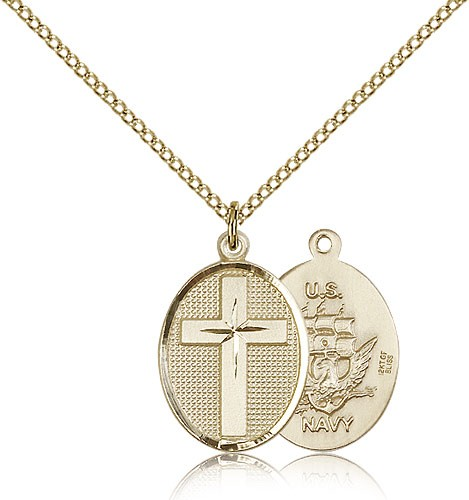 Cross Navy Pendant - 14KT Gold Filled