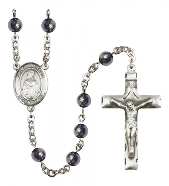 Men's St. Winifred of Wales Silver Plated Rosary - Gray