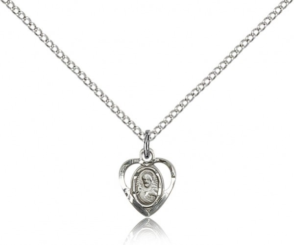 Petite Open-Cut Heart Shaped Scapular Medal - Sterling Silver