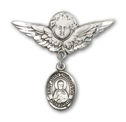 Pin Badge with St. John Chrysostom Charm and Angel with Larger Wings Badge Pin - Silver tone