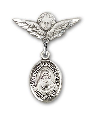 Pin Badge with St. Bede the Venerable Charm and Angel with Smaller Wings Badge Pin - Silver tone
