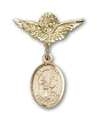 Pin Badge with St. Zita Charm and Angel with Smaller Wings Badge Pin - 14K Solid Gold
