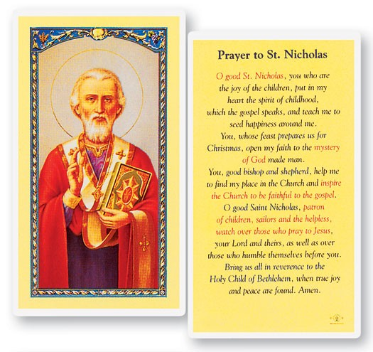 Prayer To St. Nicholas Laminated Prayer Cards 25 Pack - Full Color