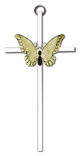 "Resurrection Butterfly Wall Cross in Yellow 6"" - Two-Tone Silver"