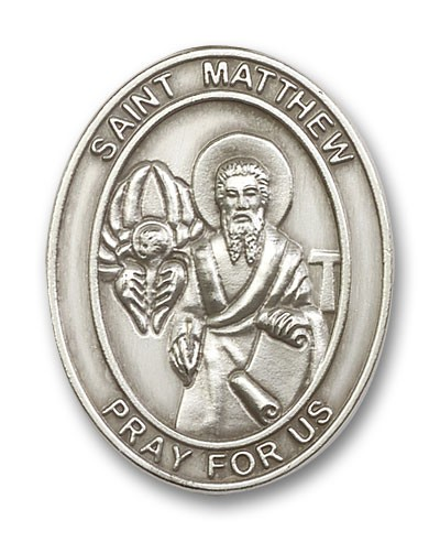 St. Matthew Visor Clip - Antique Silver