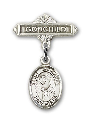 Pin Badge with St. Margaret Mary Alacoque Charm and Godchild Badge Pin - Silver tone