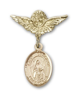 Pin Badge with St. Deborah Charm and Angel with Smaller Wings Badge Pin - 14K Yellow Gold