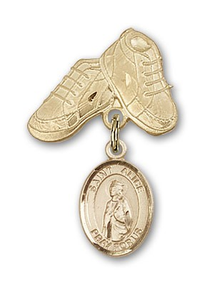 Pin Badge with St. Alice Charm and Baby Boots Pin - 14K Yellow Gold