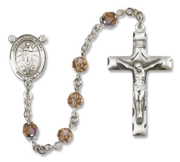 Our Lady of Tears Rosary Heirloom Squared Crucifix - Topaz