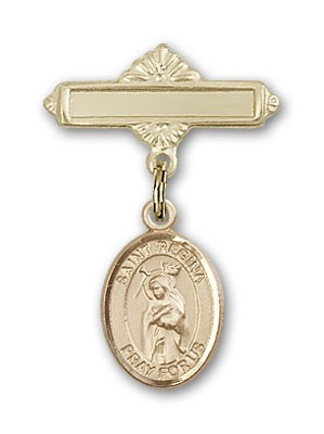 Pin Badge with St. Regina Charm and Polished Engravable Badge Pin - Gold Tone