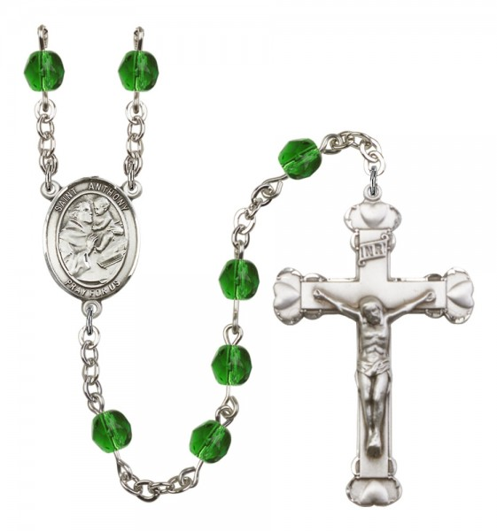 Women's St. Anthony of Padua Birthstone Rosary - Emerald Green