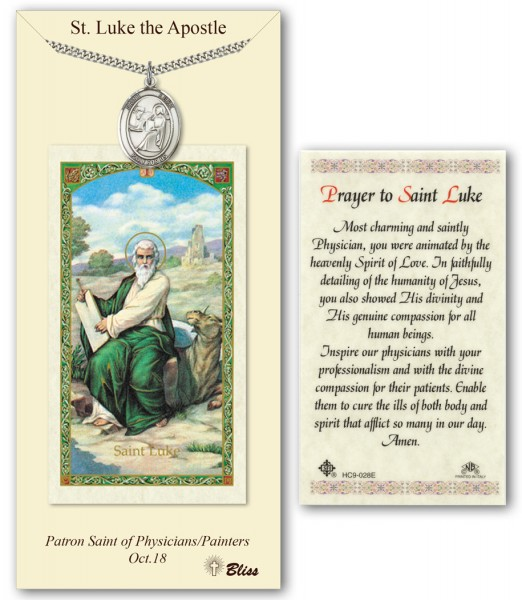 St. Luke the Apostle Medal in Pewter with Prayer Card - Silver tone