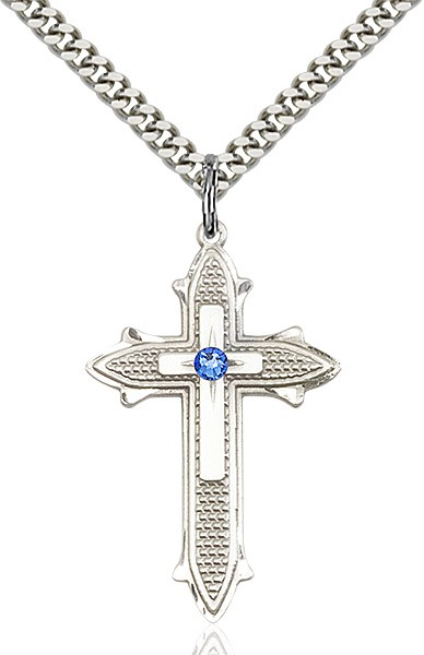 Large Women's Polished and Textured Cross Pendant with Birthstone Option - Sapphire