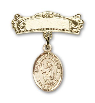 Pin Badge with St. Vincent Ferrer Charm and Arched Polished Engravable Badge Pin - 14K Yellow Gold
