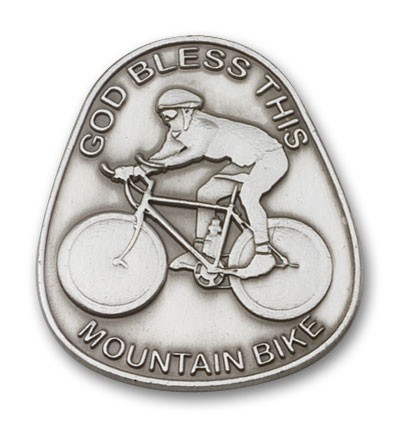 God Bless This Mountain Bike Visor Clip - Antique Silver