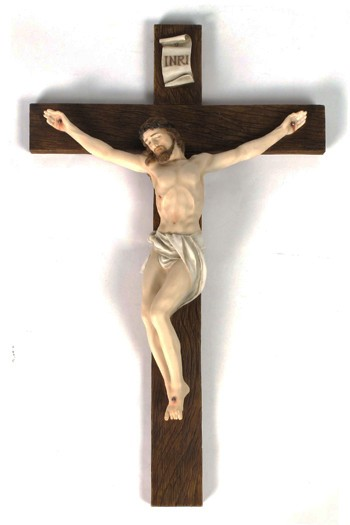 Hand Painted Resin Wall Crucifix - 16 Inches - Full Color