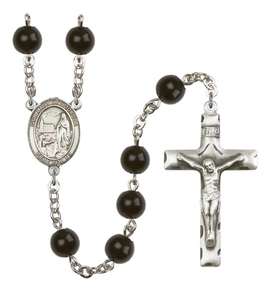 Men's Our Lady of Lourdes Silver Plated Rosary - Black