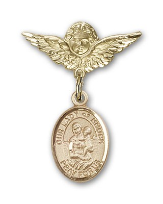 Pin Badge with Our Lady of Knock Charm and Angel with Smaller Wings Badge Pin - 14K Yellow Gold