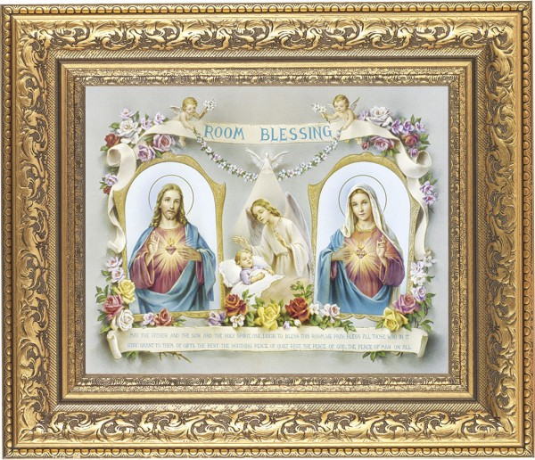 Room Blessing Framed Print with Sacred Heart and Immaculate Heart - #115 Frame