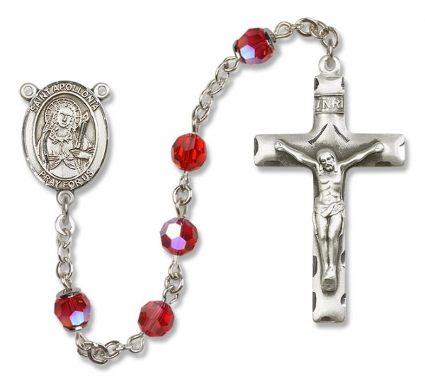 St. Apollonia Rosary Heirloom Squared Crucifix - Ruby Red