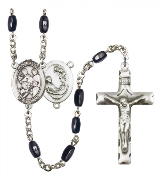 Men's St. Cecilia Marching Band Silver Plated Rosary - Black | Silver
