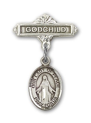 Baby Badge with Our Lady of Peace Charm and Godchild Badge Pin - Silver tone